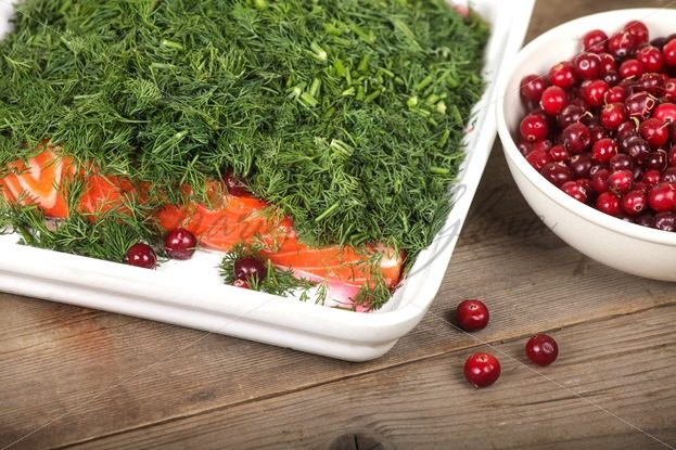Gravlax and cranberries – Stock photos from around the world
