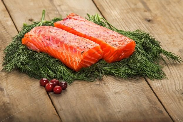 Salty salmon on the old table – Stock photos from around the world