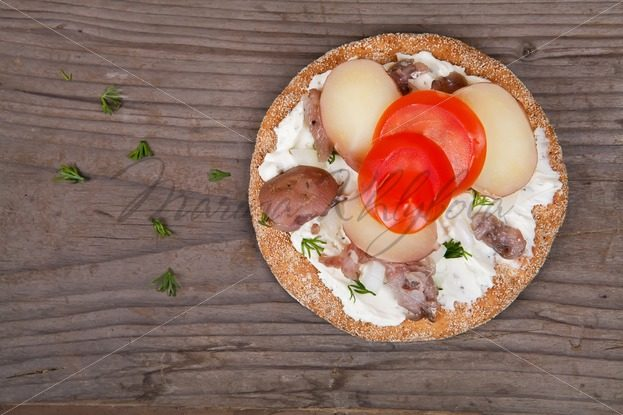 Sandwich with swedish herring, potato and tomatoes – Stock photos from around the world