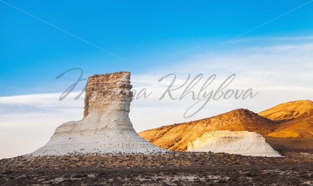 Chalky outlier near saline Tuz-Bair, Kazakhstan – Stock photos from around the world