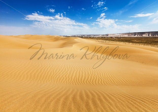 Desert on a background of the Senek village, Kazakhstan – Stock photos from around the world