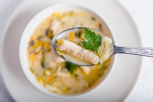 Flaki – Polish traditional soup in the spoon – Stock photos from around the world