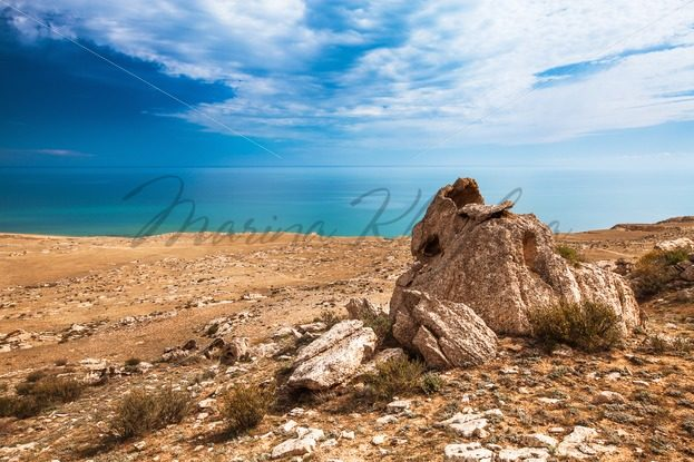 Stones on the coast of Caspian sea – Stock photos from around the world